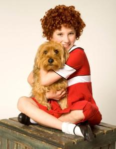 Michelle Creber and Max in the TUTS production Annie. Photo by Tim Matheson.