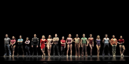 The company on the line in the National Tour of A Chorus Line.  Photo- Paul Kolnik